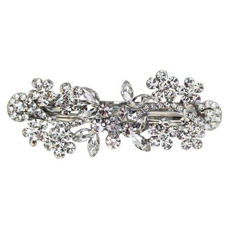 Faship Gorgeous Rhinestone Crystal Floral Hair Barrette](Crystal Barrettes)