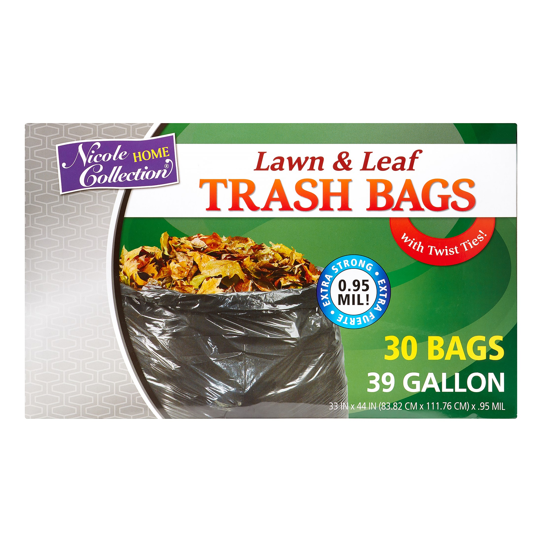 Nicole Home Collection Lawn & Leaf Trash Bags with Twist Ties, 39 Gallon, Black, 30 Ct