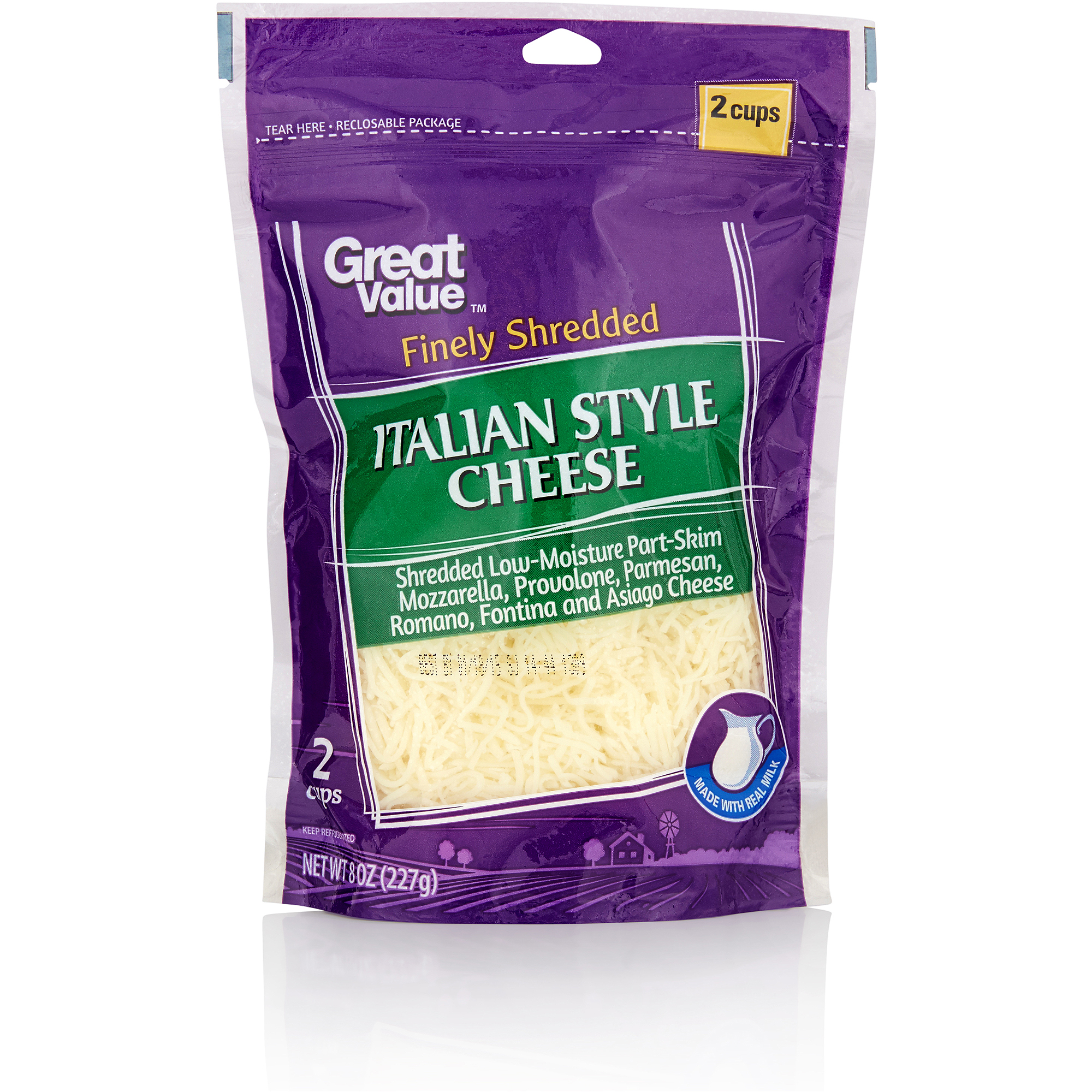 Great Value: Finely Shredded Italian Style Cheese, 8 Oz