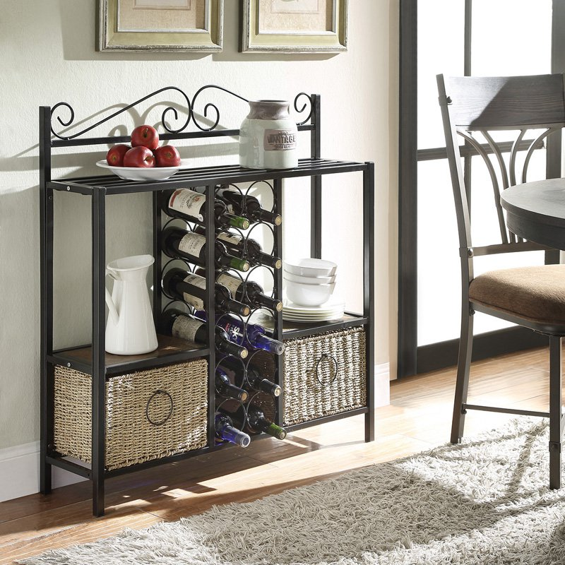 4D Concepts Windsor Storage and Wine Rack with 2 Baskets