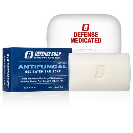 Defense Antifungal Medicated Bar Soap | FDA Approved Treatment for Athlete's Foot Fungus and Intensive Treatment for Fungal Infections of The Skin (One Bar with Snap-Tight