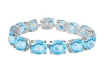 14K White Gold Prong Set Oval Aquamarine Bracelet by Love Bright