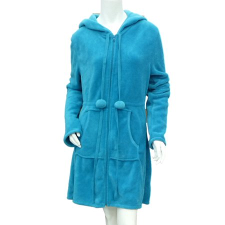 Joe Boxer - Joe Boxer Womens Turquoise Blue Fleece Robe Short Housecoat Hoodie  Bathrobe - Walmart.com dde77b9fc