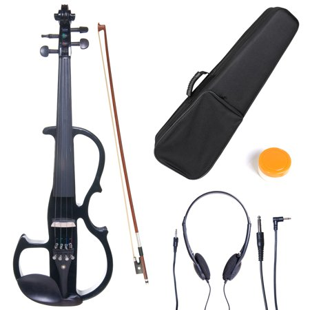 Cecilio 4/4 CEVN-2BK Solidwood Metallic Black Electric/Silent Violin with Ebony Fittings-Full (Electric Vintage Violin)