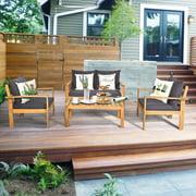Costway 4PCS Patio Furniture Set Acacia Wood Thick Cushion Loveseat Sofa Garden