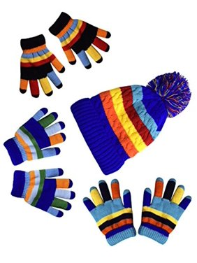 Peach Couture Children's Toddler Warm Winter Gloves and Mittens Value packs (One Size, Rainbow Blue Set Little Kids (4 to 8 Years))