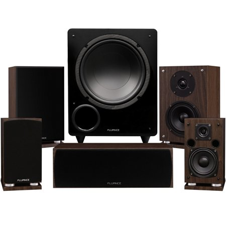 Fluance Elite Series Compact Surround Sound Home Theater 5.1 Channel Speaker System including Two-way Bookshelf, Center Channel, Rear Surrounds and a DB10 Subwoofer - Walnut (SX51WC) (Bookshelf Speakers With Subwoofer)