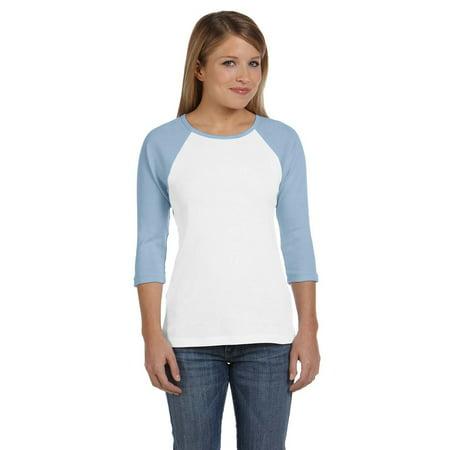 - Bella Tshirt B2000 Women Junior's Rib 3/4 Sleeve Contrast Raglan