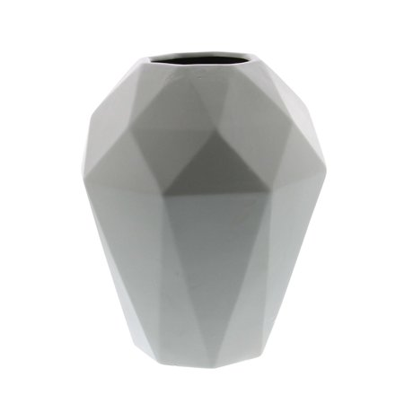 Decmode Contemporary 12 X 9 Inch Geometric Ceramic Urn Vase, Light Gray