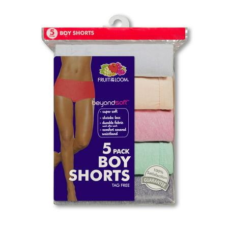 Fruit of the Loom Womens Beyond Soft 5-Pack Boyshort Panties, 5, Assorted