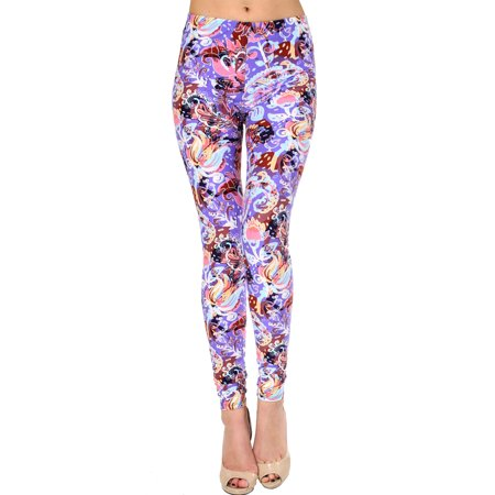 VIV Collection Regular Size Printed Brushed Leggings (Artistic Floral)](Day Of The Dead Leggings)