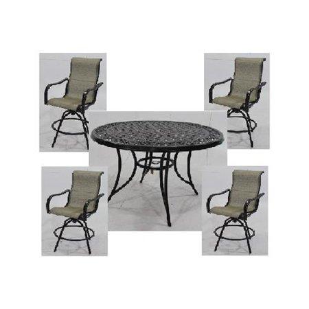 e956860091 Patio Master S5-BMX00515 Vienna 5-Pc. Aluminum High-Dining Set, 4 Sling  Stools + Table - Quantity 1 - Walmart.com
