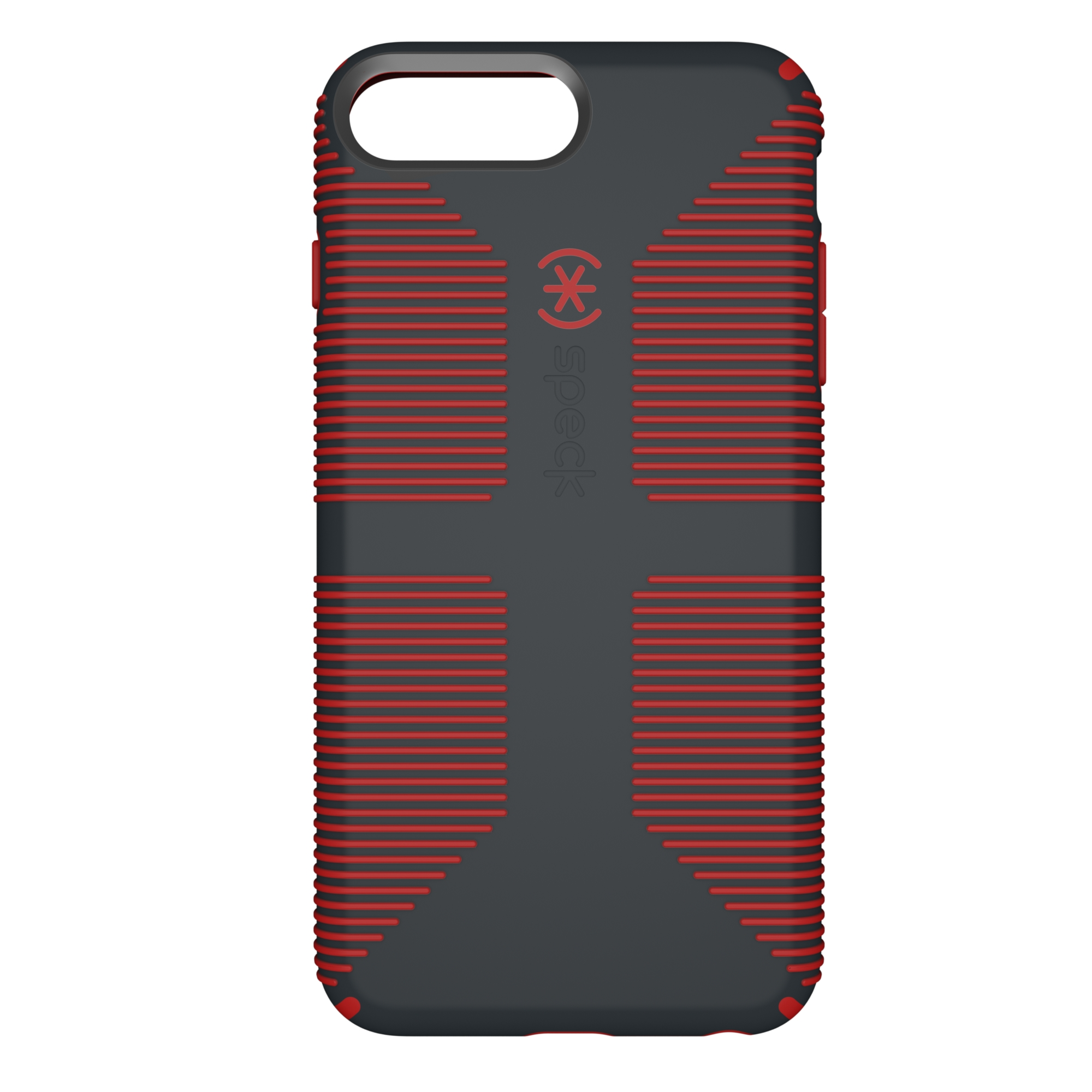 Speck CandyShell Grip Case for Apple iPhone 8 Plus, iPhone 7 Plus, and iPhone 6 Plus, Gray/Red