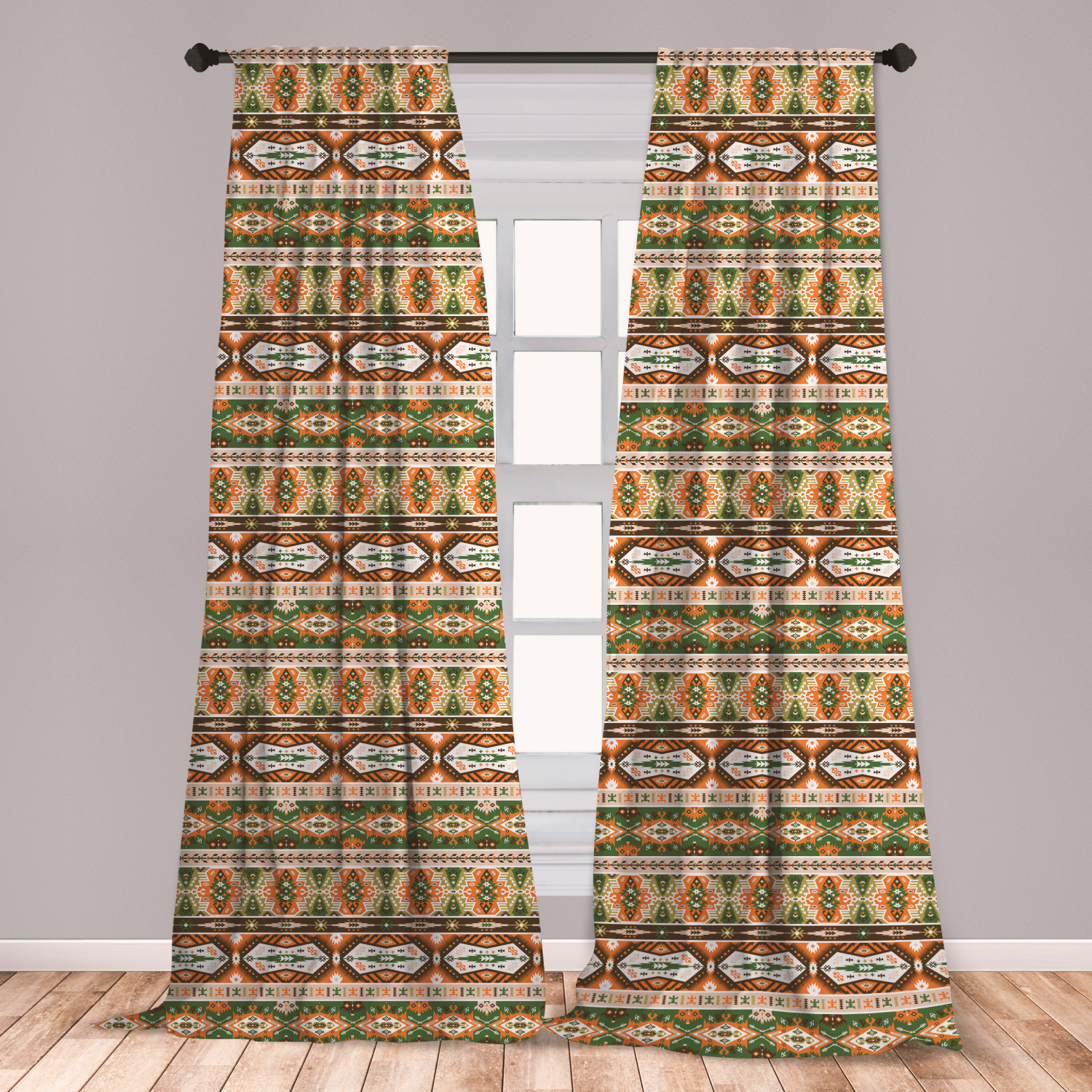 Tribal Curtains 2 Panels Set, Vector Design With Aztec