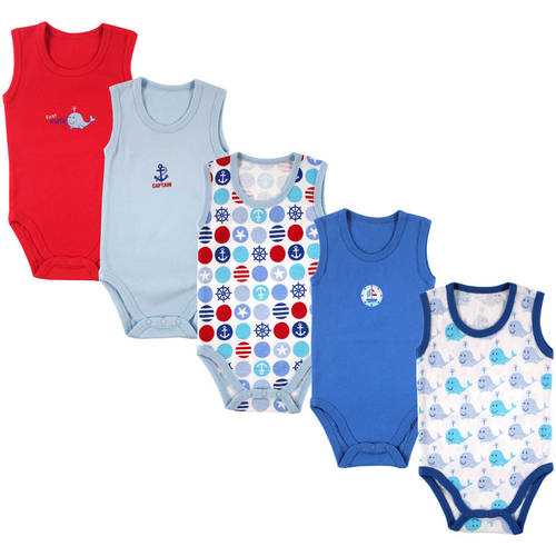 Luvable Friends Newborn Baby Boys 5-Pack Lightweight Sleeveless Bodysuits, Blue