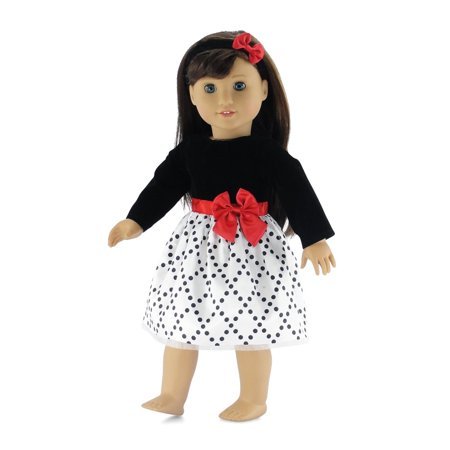 18 Inch Doll Clothes | Black and White Party Dress with Red Trim, Includes Matching Headband with Bow | Fits American Girl