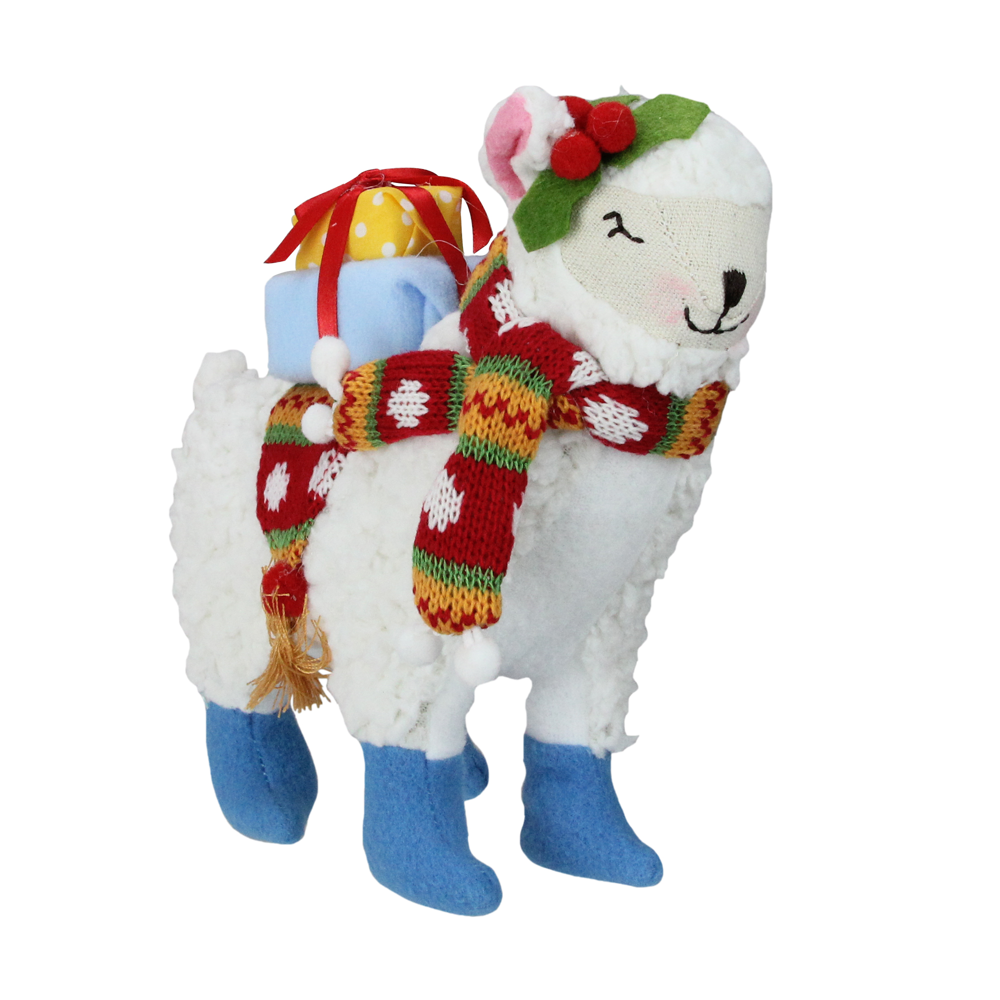 "8.5"" Bohemian Multicolor Plush Llama with Hat Christmas Tabletop Figure"