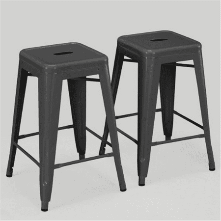 Set of 2 Charcoal Gray French Bistro Tolix Style Metal Co...