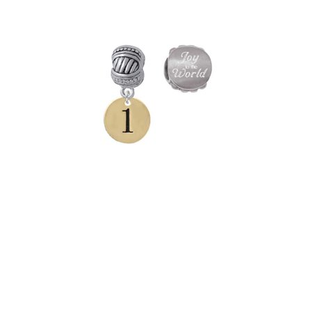 Disk Bead Set (Goldtone Disc 1/2'' Number - 1 - Joy to the World Charm Beads (Set of 2) )
