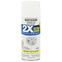 (3 Pack) Rust-Oleum American Accents Ultra Cover 2X Flat White Spray Paint and Primer in 1, 12 oz