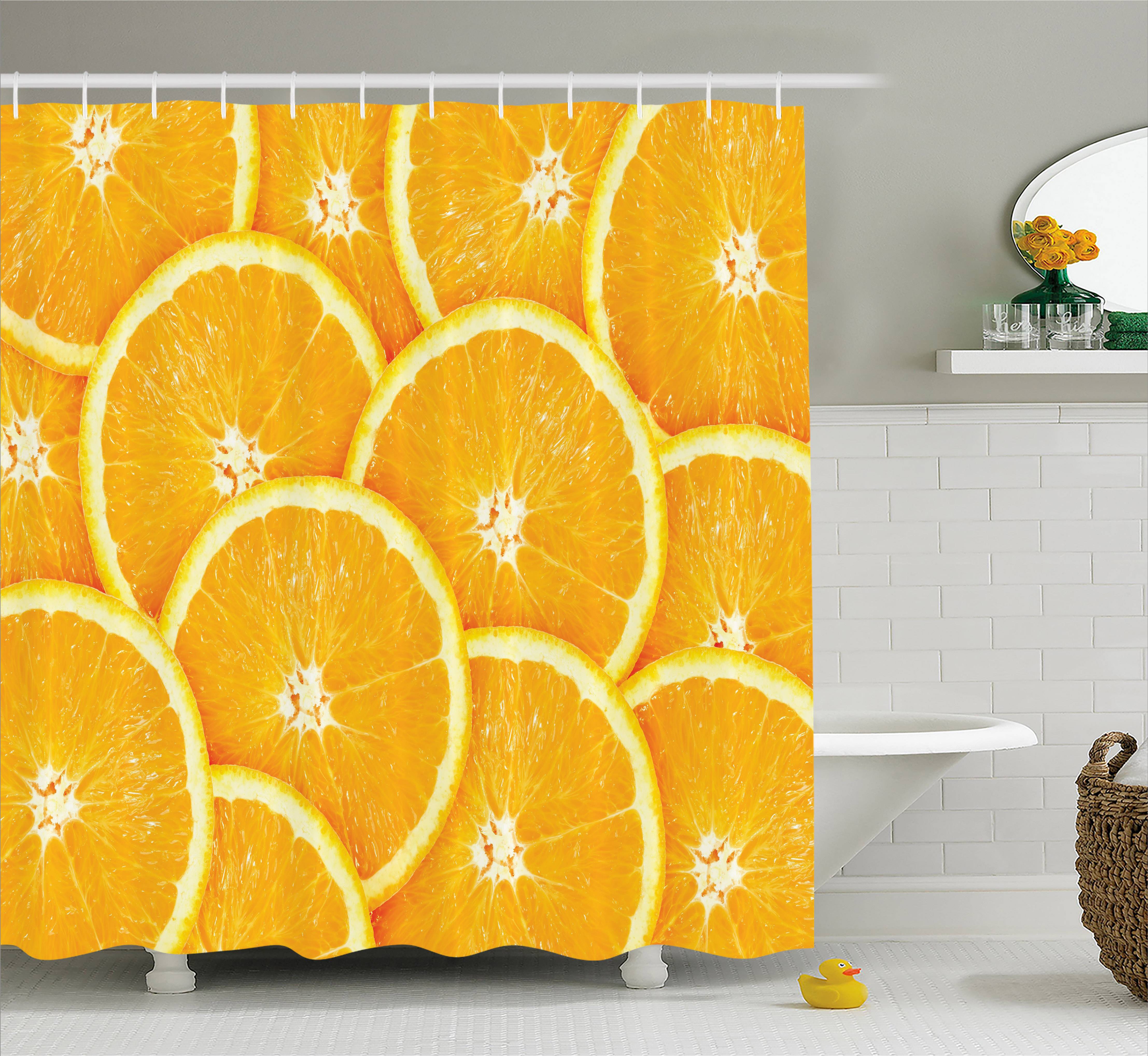 Orange Shower Curtain, Realistic Citrus Fruit of Orange Slices Close Up Photography Clean Healthy Eating, Fabric Bathroom Set with Hooks, 69W X 75L Inches Long, Marigold, by Ambesonne