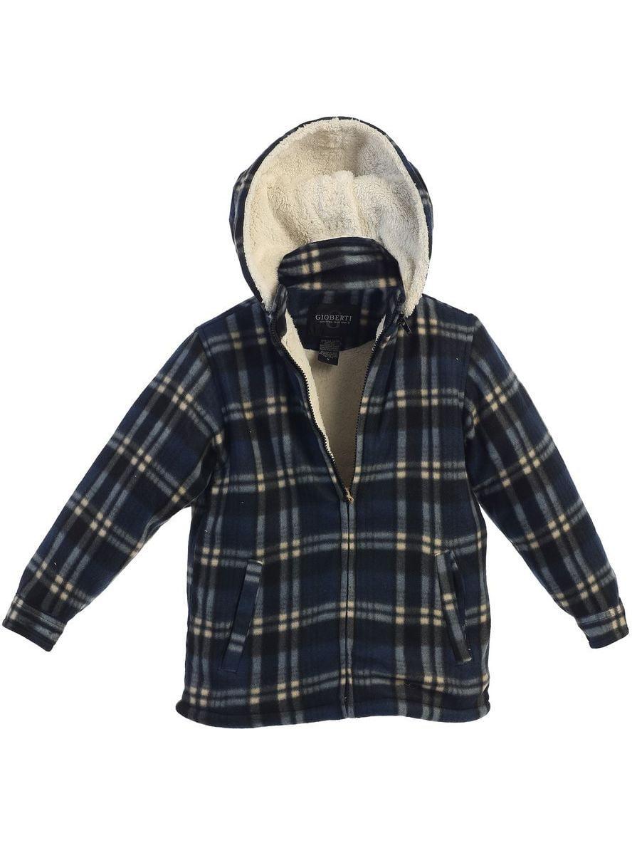 Gioberti Little Boys Blue Plaid Sherpa Lined Detachable Hood Flannel Jacket 2T-7