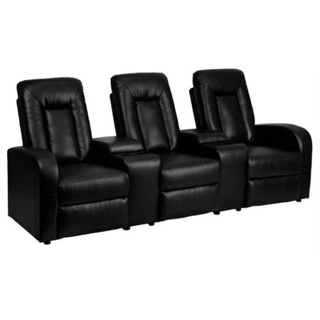 Bowery Hill 3 Seat Home Theater Recliner in Black