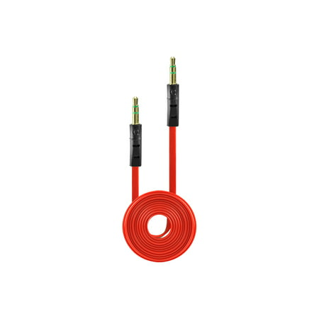 Tangle Free Flat Wire Car Audio Stereo Auxiliary Aux Cord Cable Adapter for Samsung Freeform 2 R360 R375C (Metro PCS, Net 10, Straighttalk) - Light Red