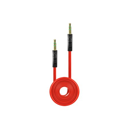 Tangle Free Flat Wire Car Audio Stereo Auxiliary Aux Cord Cable Adapter for HTC Hero S - Light Red