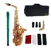 Muslady Saxophone Sax Eb Be Alto E Flat Brass Carved Pattern on Surface Plastic Mouthpiece Exquisite with Gloves Cleaning Cloth Brush Straps