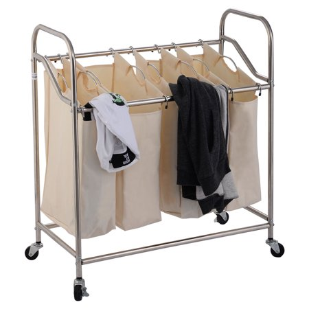 Costway 4 bag laundry rolling cart basket hamper sorter storage organizer 4 wheels - High end laundry hamper ...