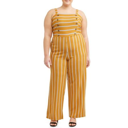 Juniors' Plus Double Horn Striped (Plush Jumpsuit)