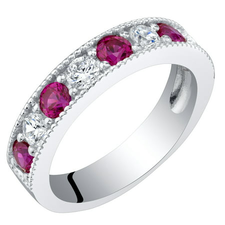 Sterling Silver Created Ruby Milgrain Half Eternity Ring Band Sizes 5 to 9