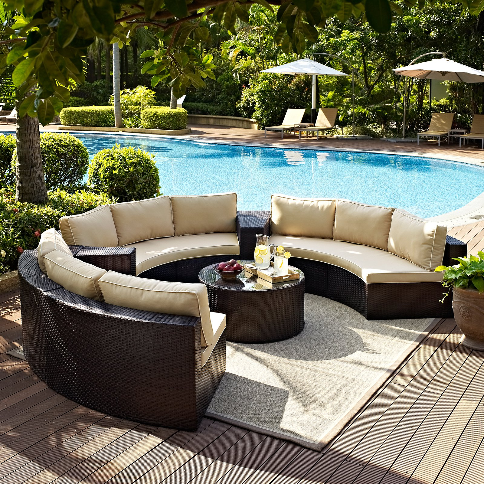 Catalina 6 Piece Outdoor Wicker Seating Set With Sand Cushions Three Round Sectional... by Modern Marketing Concepts