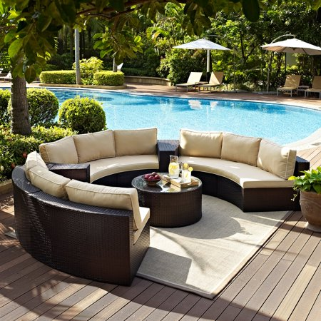 Catalina 6 Piece Outdoor Wicker Seating Set With Sand