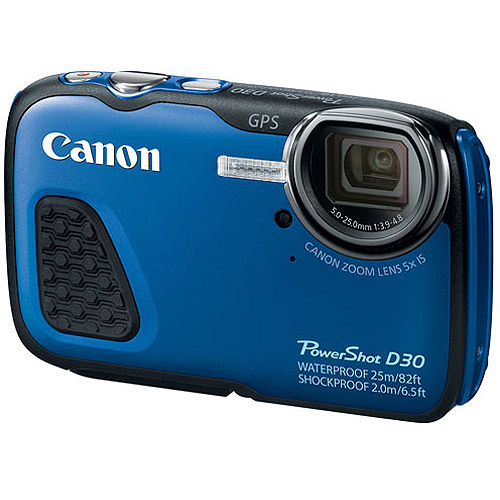 Canon Blue PowerShot D30 Digital Camera with 12.1 Megapixels and 5x Optical Zoom