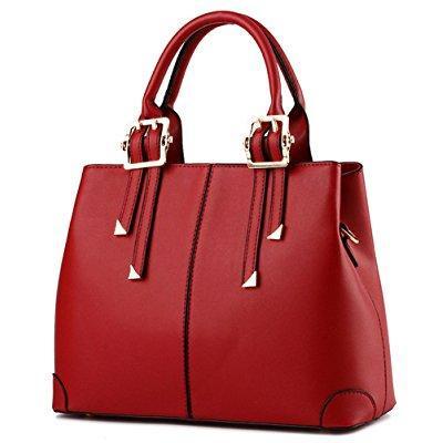c699f36cd8 ... suyi womens vintage pu leather tote satchel handbag shoulder bag cross  body bags wine red