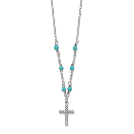 Sterling Silver Rhodium-plated CZ Cross & Synthetic Turquoise with 2in Extender Pendant Necklace