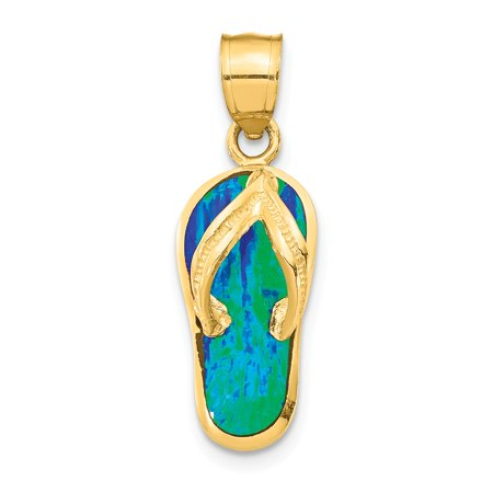 - 14k Yellow Gold Polished w/Created Blue/Green Opal Flip Flop Pendant