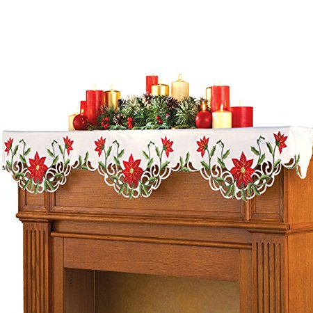 Buy Collections Etc Christmas Poinsettia Fireplace Mantel Scarf at Walmart.com