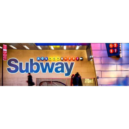 Panoramic View - Entrance of a Subway Station in Times Square - Urban Street Scene by Night Print Wall Art By Philippe
