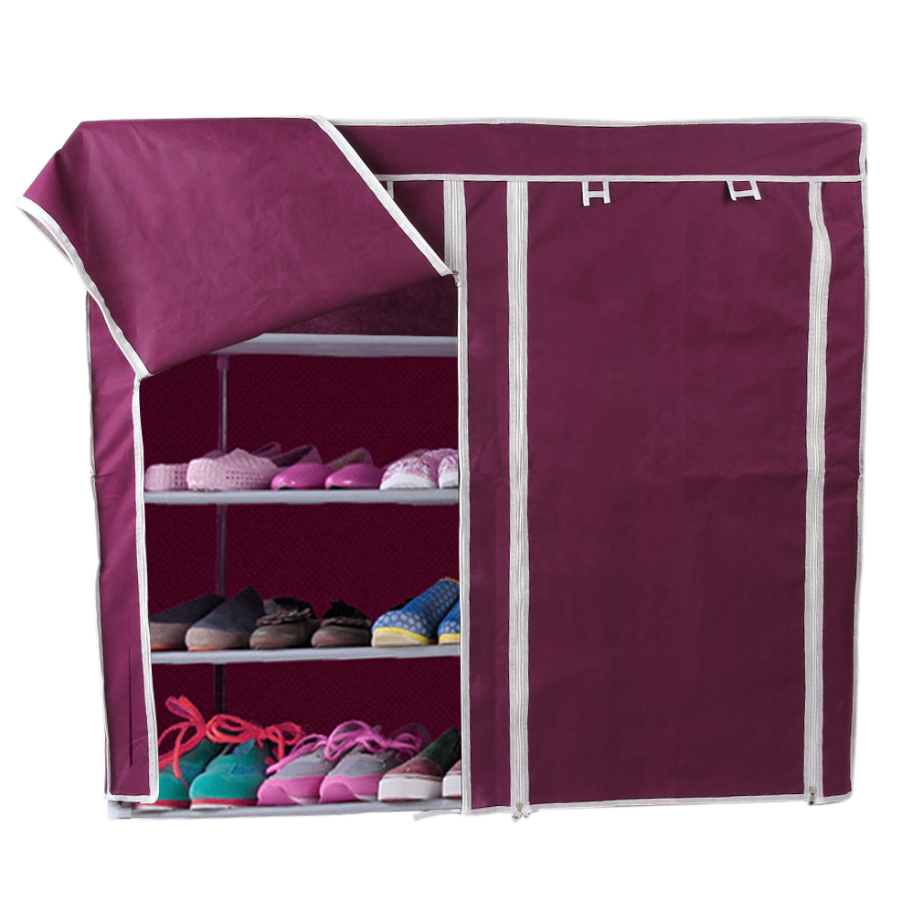 Shoe Shelf Rack Storage Closet Organizer Cabinet Portable 7 Layer With Cover
