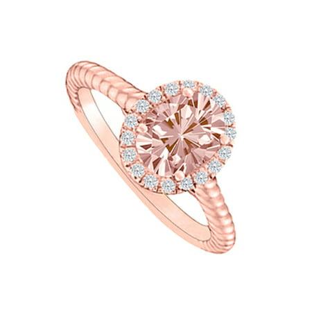 Diamonds Haloing Morganite Rose Gold Engagement Ring - image 1 de 2