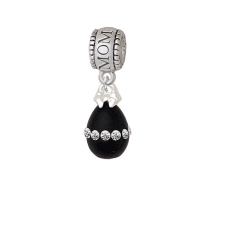 Easter Egg Bead - Black Easter Egg with Clear Crystal Band - Mom Charm Bead