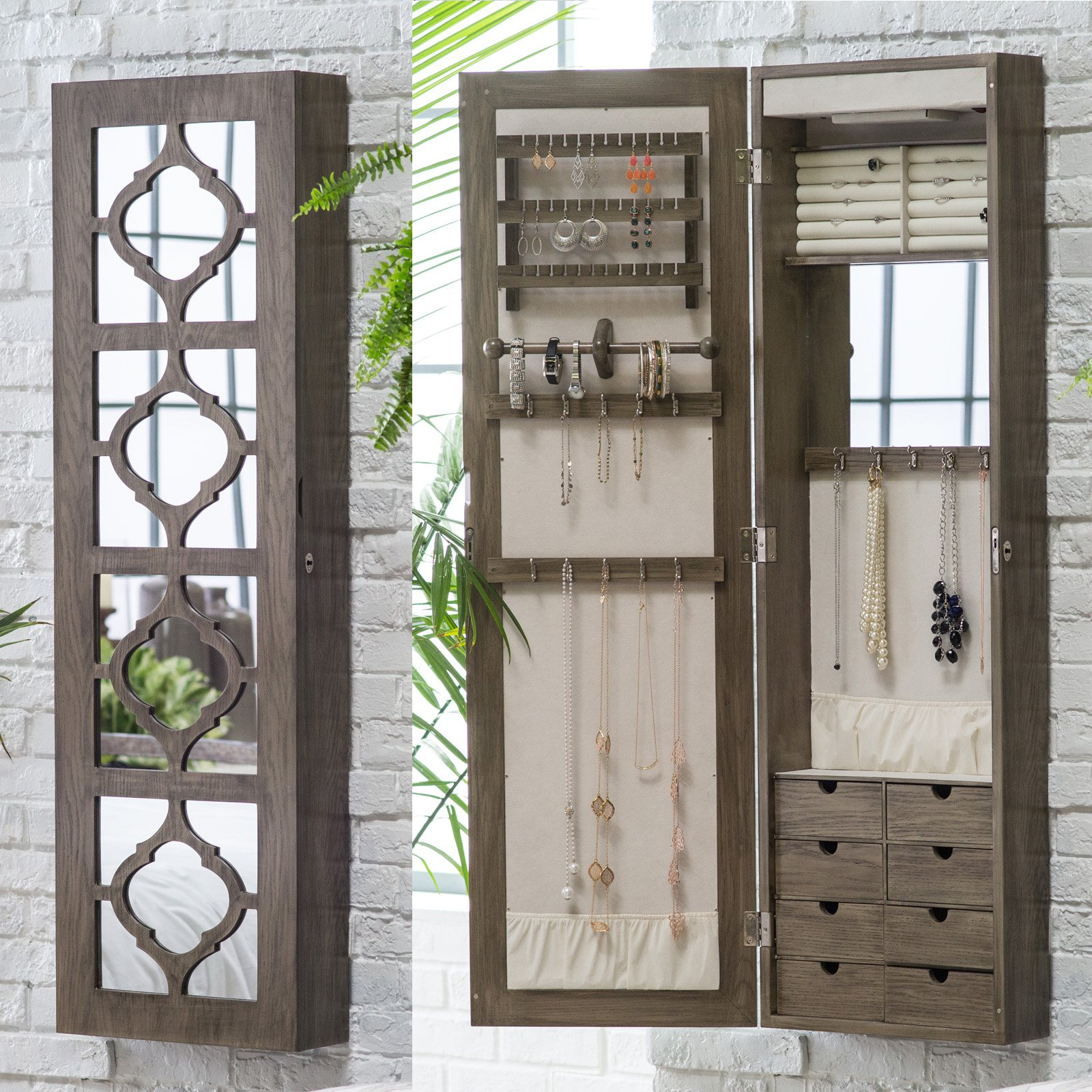 Belham Living Lighted Locking Quatrefoil Wall Mount Jewelry Armoire