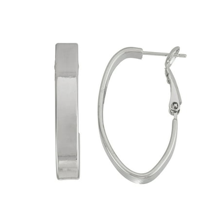 X & O Rhodium Plated 5mm Large Rectangle Tube Oval Hoop Earring ()
