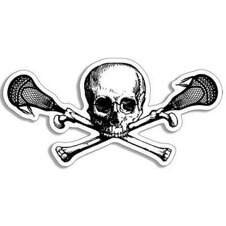 Skull Head City Stick - 3x5 inch SKULL and LACROSSE Sticks Shaped Sticker - decal head ball shaft bumper