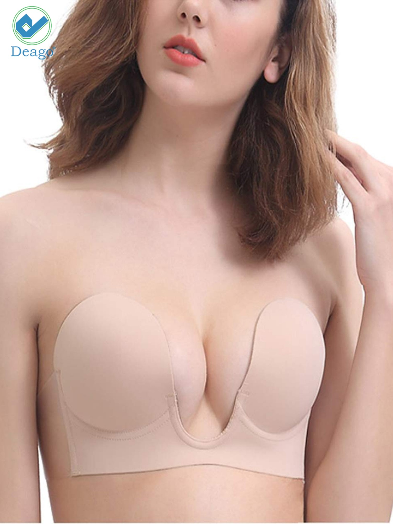 f335db0934 Deago - Deago Women s Strapless Sticky Bra Self Adhesive Invisible Bra  Backless Push up Bra Reusable Silicone Deep U Plunge Bra - Walmart.com