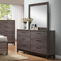 K&B Furniture Antique Grey Wood Bedroom Dresser with Optional Mirror