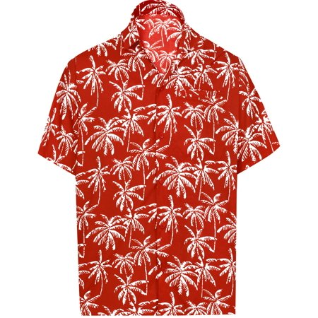 Hawaiian Shirt Mens Beach Aloha Camp Party Holiday Short Sleeve Pocket Palm Tree Print R